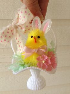 Bunny Chick in an Easter Basket  Easter Decoration by JeanKnee, $5.00