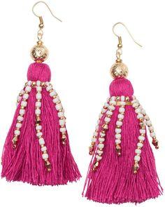 H&M - Earrings with Tassels - Cerise - Ladies