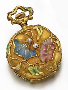 Waltham and Swiss. AN ART NOUVEAU 18K GOLD PLIQUE Á JOUR OPEN-FACED PENDANT WATCH, 1910. Gold cuvette, white enamel dial, red Breguet numerals, case with Art Nouveau rendering of flowering vines in high relief with plique á jour enamel in tones of blue, mauve and green with some loss, case dial and movement signed.