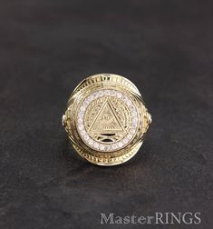 Masonic large signet ring, All-seeing eye ring, Masonic gold signet ring, Men large ring, Big gold r
