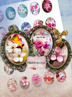 Cherry Blossom Cabochon oval images Clip Art by PrintCollage Cherry Blossom Images, Digital Collage, Collages, Cyber, Mall, Wonderland, Clip Art, Printables, Invitations