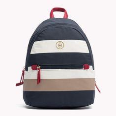 5266c7c20b77 Nylon Tommy Hilfiger Striped Backpack Tommy Hilfiger Handbags