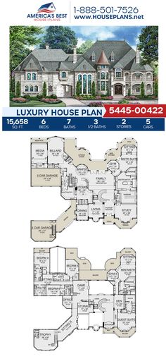 Luxury House Plan - For those looking to live the life of luxury, Plan features sq. House Plans Mansion, Luxury House Plans, Best House Plans, Dream House Plans, House Floor Plans, House Design Plans, Castle Floor Plan, 6 Bedroom House Plans, Luxury Floor Plans