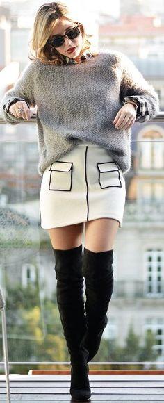 Grey Oversized Sweater Black and White Skirt, Black Suede OTKB | Ma Petite By Ana #grey