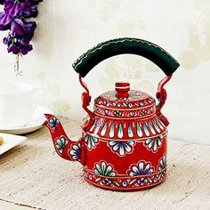 Indian Hand Painted Aluminium Orange Hand Painted Traditional Tea Kettle Pot ** Learn more by visiting the image link.