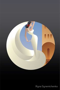 Art Deco geometric styled Spain Flamenco dancer