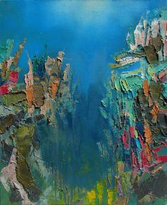 "Saatchi Online Artist: Abhishek Kumar; Oil 2013 Painting ""Blue Depth"""