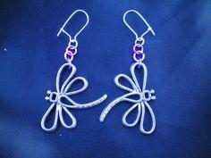 Dragonfly earrings, silver charm earrings, dragonfly jewellery, dangle earrings, gift for her, purple earrings, dragonfly charm earrings
