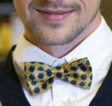 Dreideltooth Bow Tie in Mustard - New for Chanukah/Hanukkah/However-you-wanna-spell-ukkah 2013!  This is a fun spin (pun intended) on the classic houndstooth print.  Made in England.