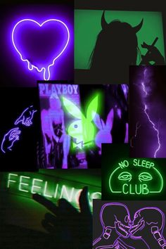 Neon green and purple