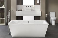 DXV Seagram Collection Suite featuring the Freestanding Soaking Tub, One-Piece Toilet, Pop Vessel Sink and Contemporary Tub Filler.