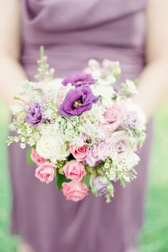Fresh as Spring Purple and Pink Garden Bridesmaid Bouquets