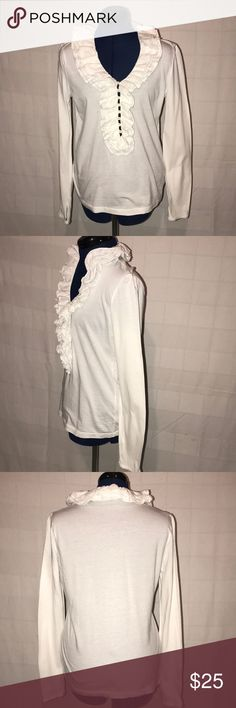 Rahlf Lauren White Long Sleeve Shirt Ralph Lauren Co White long sleeve, 4 layers of ruffle around the neck & down to the mid area of the Shirt. The mid area has space in between each button. On the end of the sleeve there is a matching button. The shirt is full of fun or all sexy! Non smoker, wore 2 times, EXCELLENT SHAPE! Made of 100% cotton so don't dry it! Ralph Lauren Other