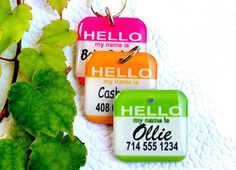 Dog Tag Pet Tag Custom Name Tag Hello Name Tag 15 Color by ID4Pet, $13.99.... This shop is really cute. I want one of these for my baby!