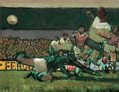 Football Match - Ruskin Spear - Clark Art Ltd - Specialists in L. Lowry and Modern British Art Football Art, Football Match, Clark Art, Tate Gallery, Impressionist Artists, Royal Academy Of Arts, Group Art, Classic Paintings, Royal College Of Art