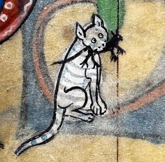 Detail from medieval manuscript, British Library Stowe MS 17 'The Maastricht Hours', Medieval Drawings, Medieval Paintings, Medieval Art, Medieval Times, Renaissance Art, Medieval Manuscript, Illuminated Manuscript, Cat Club, Ugly Cat