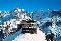 Piz Gloria, a revolving restaurant on Schilthorn Summit overlooking the Swiss Alps (Murren, Switzerland)
