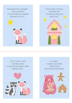 Learn Finnish, Finnish Language, Preschool Christmas, Montessori, Kindergarten, Arts And Crafts, Clip Art, Teaching, Cards