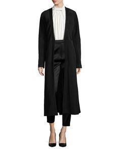Matelasse Fitted Long Coat, Women's, Size: 6, Black - Jason Wu