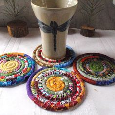 Multicolored Bohemian Coiled Coasters Set of 4 Handmade by Fabric Coasters, Diy Coasters, Rope Crafts, Fun Crafts, Fabric Bowls, Braided Rugs, Weaving Art, Boho Diy, Sewing Basics