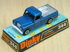 Dinky Toy 344, Land Rover. Civilian version of the ever popular Land Rover. Featured opening doors and bonnet. This diecast model was produced between 1970 and 1980.
