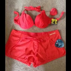 New Body Glove bathing suit set Too cute...NWT Scarlet red bikini top and board shorts. Never worn. Body Glove Swim Bikinis