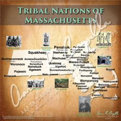 Tribal Nations of Massachusetts Map Native American Baby, Native American Images, Native American Tribes, Native American History, North America Map, Indian Tribes, Schools First, Historical Maps, Genealogy