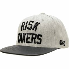 """The DGK Risk Takers grey and black snapback hat is full of freshness even if you like to kepe it safe. Featuring a grey chambray hat body with contrasting black bill, custom DGK """"Risk Takers"""" embroidery at front, """"DGK"""" at left side and """"Rollin' the Dice"""" at the back. This blended wool DGK snapback has a tonal grey snapback sizing piece for the perfect fit that takes the DGK Risk Takers grey and black snapback hat to new heights."""