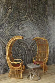 Black and grey veined book matched marble - space by Kelly Wearstler Commercial