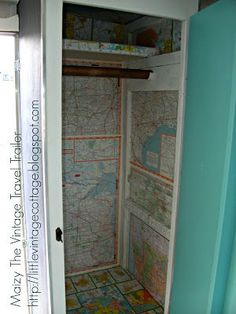 I love the map wallpaper in this trailer closet! Little Vintage Cottage