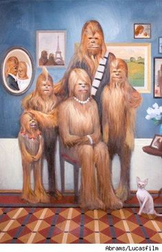 Chewie family portrait. Oil on canvas.