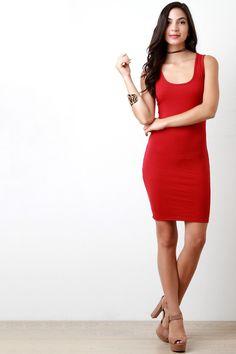 Casual Ribbed Knit Sleeveless Mini Dress
