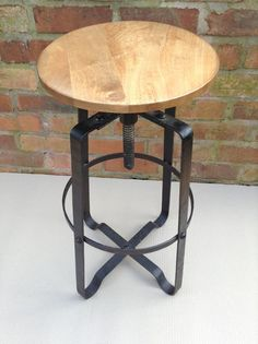 Industrial Bar Stool Wooden Top Shabby Vintage Chic Kitchen Side Table Seat  In Home, Furniture