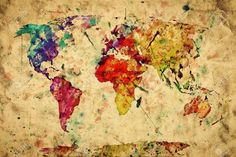Vintage World Map. Colorful Paint, Watercolor, Retro Style Expression.. Stock Photo, Picture And Royalty Free Image. Pic 19290383.