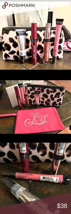 "Victoria's Secret Lip product bundle & Bags. Includes New VS Extreme Plumper (Clear Crystal). Lip Silk Sheer Gloss (Victoria), Lip Gloss (Undressed) & Pure Metal Intense Lip Lacquer). A ""Modella"" leopard print Cosmetic bag, & custom designed by ""Glam It Up Fashions"" wristlet.  Lip products retail - $48. View all pics to see the cosmetic bags. Victoria's Secret Makeup Lip Balm & Gloss"
