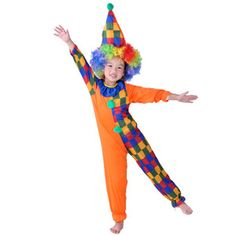 Halloween Clown Boy Kids Costume Clown Hat & Clown Onesies