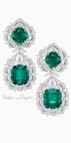 Diamond Earrings 35 Pieces Of Gorgeous Jewelery Orogem Cubic Zirconia Round-Cut Ear Pins® & Enhancer™… Flower pearl ivory Pink Diamond Earrings, Emerald Earrings, Emerald Jewelry, High Jewelry, Luxury Jewelry, Diamond Jewelry, Jewelry Box, Jewelery, Chopard Earrings