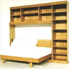 Deluxe Murphy/Wall Queen bed woodworking plans - design Bookcase/Murphy bed- build with a desk under the bed as shown in a different pin- perfect for home office in guest room! Build A Murphy Bed, Murphy Bed Plans, Bed Frame Parts, Murphy-bett Ikea, Horizontal Murphy Bed, Diy Bett, Modern Murphy Beds, Bed Wall, Outdoor Kitchen Design