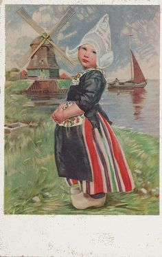 "pc volendammer meisje, (the ""dress"" varies from province to province in Holland, but this is one of the most recognizable - from Vollendam- and I think one of the finest ! Delft, Vintage Cards, Vintage Children, Vintage Postcards, Netherlands, Folk Art, Images, Illustrations, Artwork"