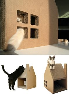 "Krabhuis: Casa de cartón para gatos con techo ""rascador"" • Scratch house made from cardboard   Krabhuis"