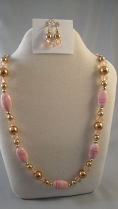 Rhodochrosite gold glass pearl beaded necklace w/ earrings