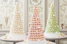 Very Parisian cake in pink and white-perfect for any venue. The croquembouche is the quintessential French wedding cake, a towering confection of cream-filled puff pastry. The three pastel towers shown here were made by Ladurée. French Wedding Cakes, Black Wedding Cakes, Buffet Dessert, Dessert Tables, Dessert Ideas, Cake Ideas, Lenotre, Croquembouche, Paris Wedding