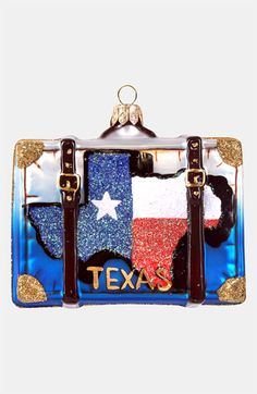 Nordstrom at Home 'Texas' Glass Suitcase Ornament | Nordstrom