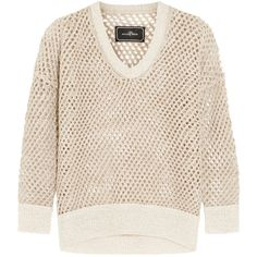 By Malene Birger Orit open-knit linen-blend sweater (€95) ❤ liked on Polyvore featuring tops, sweaters, cream, loose tops, pink sweater, pink top, open knit top and loose fit tops