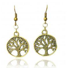 Boucles d'oreilles dorées arbre de vie #boucles d'oreilles #bijoux