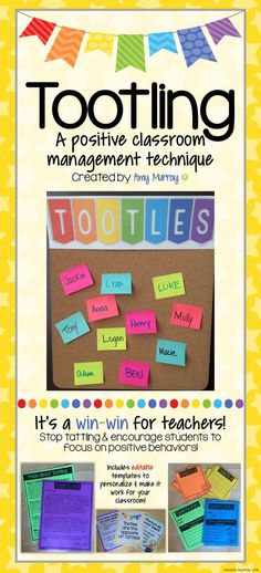 Tootling: classroom management    Find it here: https://www.teacherspayteachers.com/Product/Tootling-Classroom-Management-Tool-2600400 Amy Murray - Teaching Exceptional Kinders