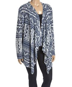 Another great find on #zulily! Navy Geometric Sidetiail Cardigan - Plus #zulilyfinds