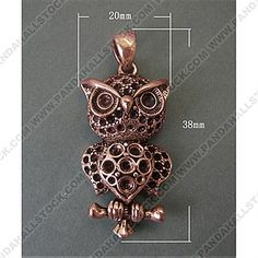 Alloy Pendants, for Halloween, Owl, Red Copper Color, Size: about 20mm wide, 38mm long, 8mm thick, hole: 6.5x5mm