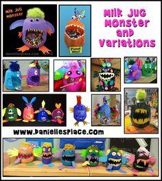 Halloween milk jug crafts - Milk Jug Monster Crafts from www.daniellesplace.com