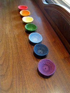 Chakra Art Bowl Set  Meditation Room Decoration  Reiki by WaveSong, $65.00